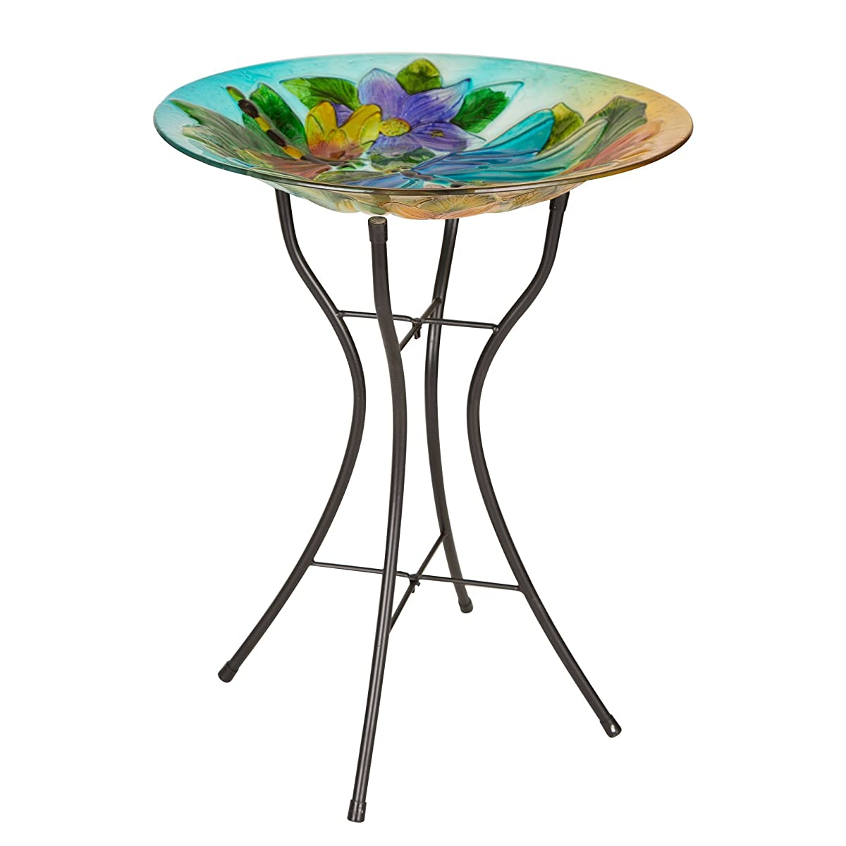Glitzhome 24 Inch H Fused Dragonfly Glass Garden Bird Bath With Metal Stand