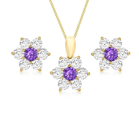 Carissima Gold 9ct Yellow Gold Purple and White Cubic Zirconia Flower Earrings and Pendant on Chain of 46cm/18""