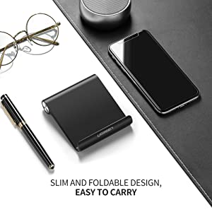 UGREEN Cell Phone Stand Holder Mobile Phone Dock Compatible for iPhone XS Max XR 8 Plus 6 7 6S X 5, Samsung Galaxy S10 S9 S8 S7 Edge S6, Android Smartphone Holder for Desk Adjustable, Foldable (Black) (Color: Black)