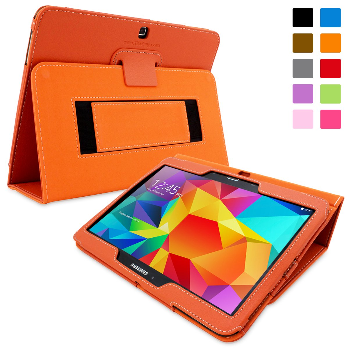 Snugg™ Galaxy Tab 4 10.1 Case   Smart Cover with Flip Stand & Lifetime Guarantee (Orange Leather) for Galaxy Tab 4 10.1Customer review