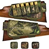 BronzeDog Camo Buttstock Cartridge Holder Gun 12 16 Gauge Adjustable Nylon Shotgun Shell Holder Left Handed Hunting Accessories (Green Oak Camo) (Color: Green Oak Camo)