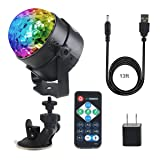 Samsion Disco Ball Party Light Sound Activated LED DJ Stage Dance Strobe Lights 7 Colors with USB Remote Sucker for Kids Toys Gifts Wedding Birthday Bar Summer Beach Halloween Christmas Car (Color: Red, green, blue,RGB mixed color, Tamaño: Mini Disco Ball)