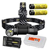 Premium Bundle: NITECORE HC33 1800 Lumen High Performance Versatile L-Shaped LED Headlamp with 2x 3500mAh 8A Rechargeable Battery, UM20 Battery Charger and Lumen Tactical Battery Organizer