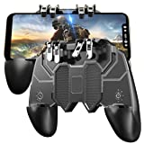 Pubg Mobile Controller with 4 Triggers, Wireless 6 Finger Operation Mobile Gaming Joystick, L1R1 L2 R2 Grip Gamepad Joystick Remote Shoot Aim Key for 4-6.5