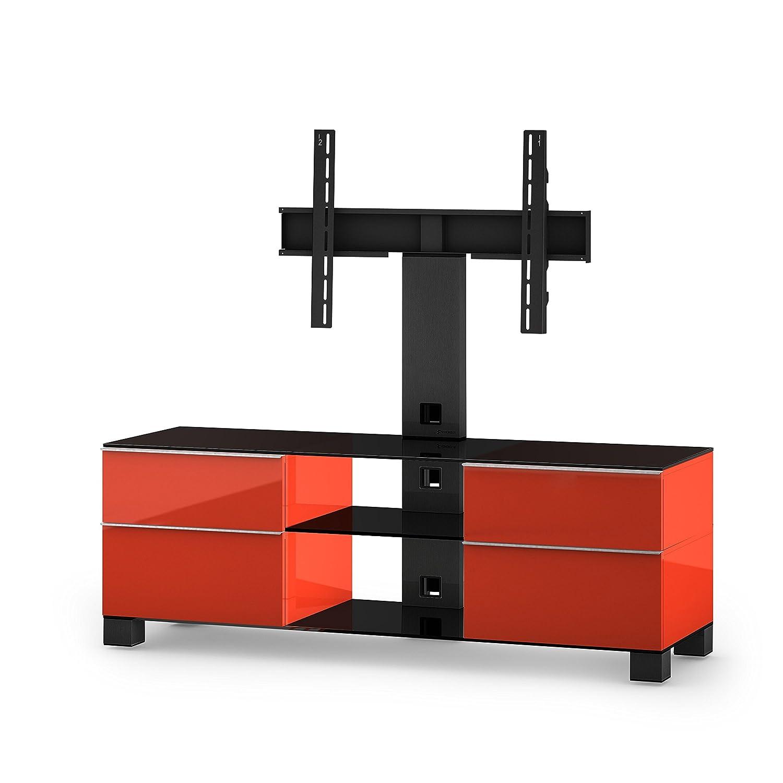 Sonorous MD 8340-B-HBLK-RED Fernseher-Möbel mit Schwarzglas (Aluminium Hochglanz, Korpus Hochglanzdekor) rot/schwarz