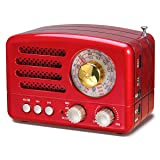J-160 AM FM Radio Retro Bluetooth Speaker, Transistor Radio Portable Battery Operated Radio with Classical Vintage Look, Built-in USB Port, Micro-SD, AUX Input(Red) (Color: Red)