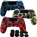 MXRC Silicone rubber cover skin case anti-slip Water Transfer Customize Camouflage for PS4/SLIM/PRO controller x 3(red & yellow & blue) + FPS PRO extra height thumb grips x 8 (Color: Print 3 Pack Red Blue Yellow, Tamaño: Print Pack)