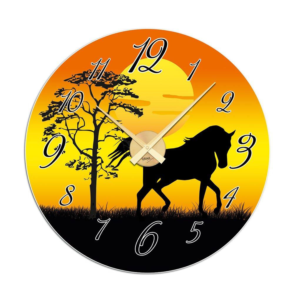 Wandticker Uhr Wanduhr inkl. Uhrwerk für Wohnzimmer Pferd Dämerrung Baum (Uhr Silber gebürstet ) günstig online kaufen