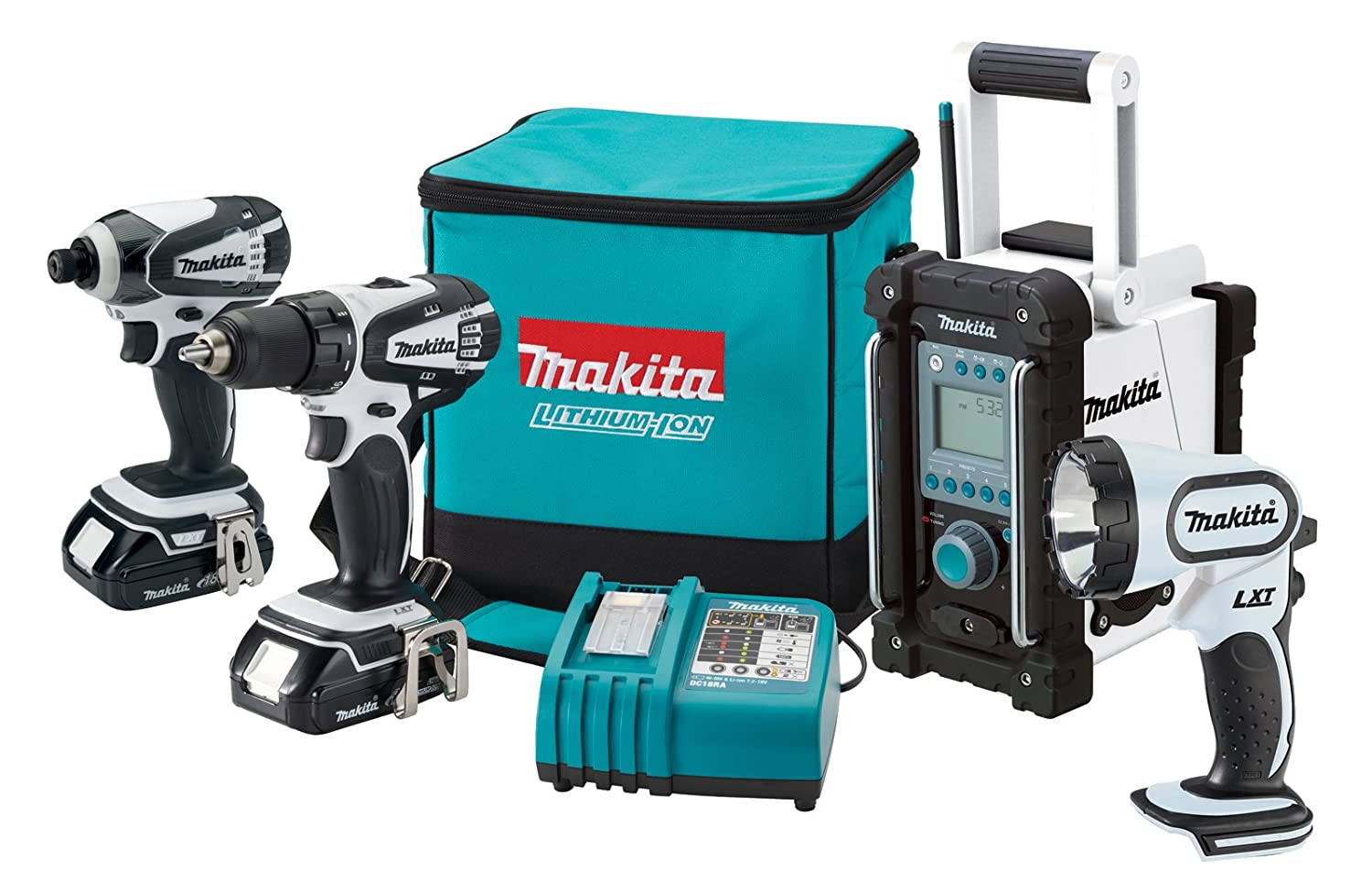 Makita LCT400W 18-Volt Compact Lithium-Ion Cordless 4-Piece Combo Kit $327.00