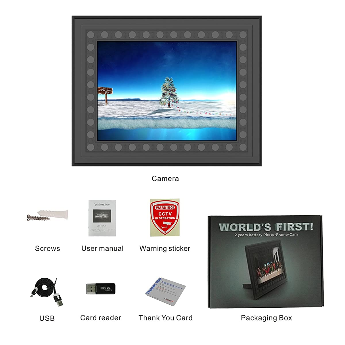 Conbrov T10 HD 720P Photo Frame Hidden Spy Camera Night Vision Motion Activated Home Security Camera Nanny Cam Video Recorder Covert DVR with Built-in 10000mah Battery, 2 Year Long Standby-Black