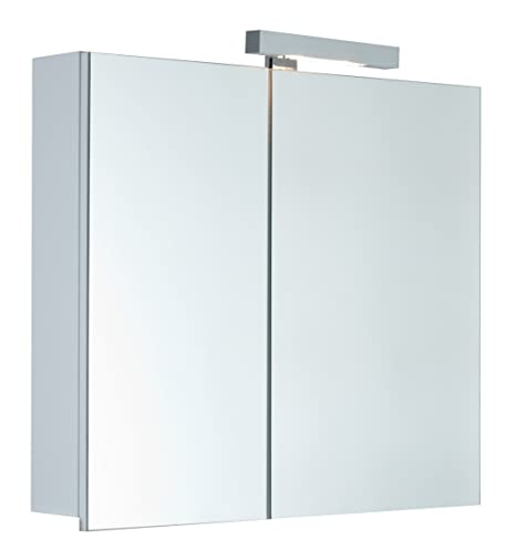Mebasa Telia MYB904508T Cabinet With Light 2 Mirrored Doors 4 Glass Shelves Soft-Closing System Delivered Assembled