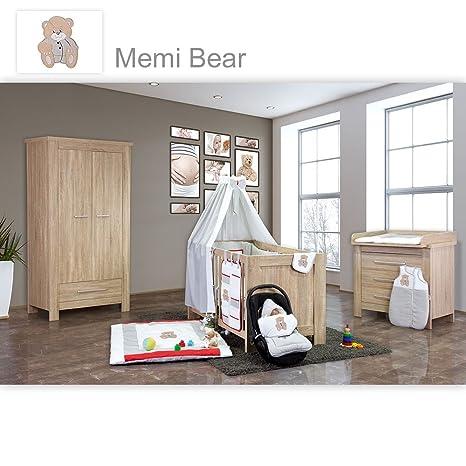Babyzimmer Enni 21-tlg. in der Farbe Sonoma mit 2 turigem Kl. + Textilien Memi, Grau