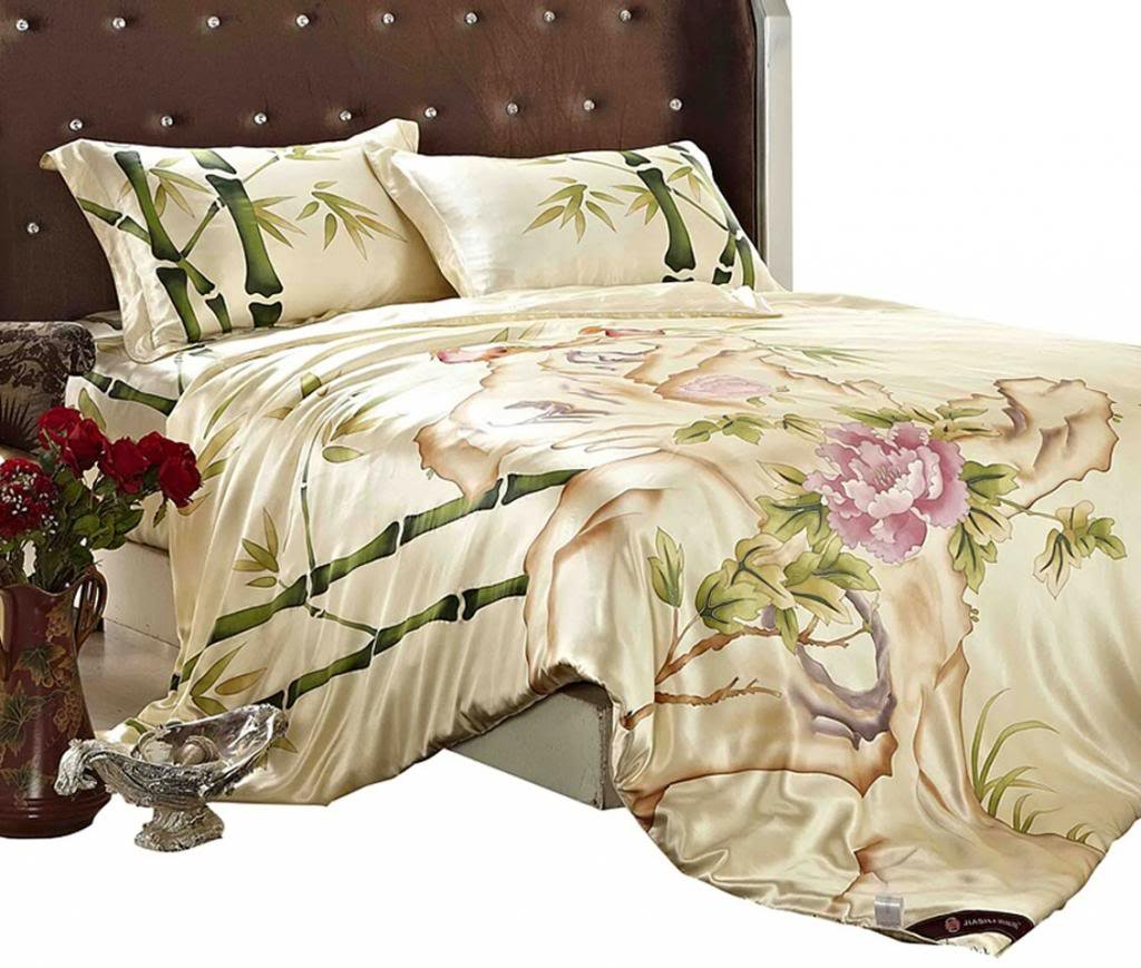Orifashion Luxury 5 Pieces 100% Silk Charmeuse Bedding Set, Artistical Chinese style Hand Painted Bamboo And Tree Peony Pattern (Model BSSJSL012), California King Size