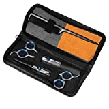 Professional Hair Cutting Scissors Barber Shears Set Hair Thinning Kit with Black Storage Case (Color: Barber shears set)
