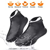 Wevove Waterproof Shoe Covers Silicone Shoe Covers Reusable Non-Slip Rain Snow Overshoe Foldable Galoshes Shoe Protectors for Men Women (Black, Large) (Color: Black, Tamaño: Large)