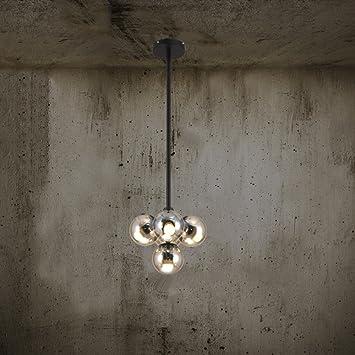 Un conjunto de araña --- Hierro De Bola LED Pantalla De Cristal Creativa  Arte Individualidad Industrial Candelabros Sala De Estar Comedor Araña De Luces (No incluir la fuente de luz) ( Tamaño : 39cm )