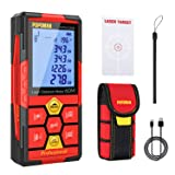 POPOMAN Laser Measure,Lithium Battery with USB Charging,196Ft Laser Distance Meters M/In/Ft with Electronic Angle Sensor,Pythagorean Mode,Measure Distance, Area and Volume-Red
