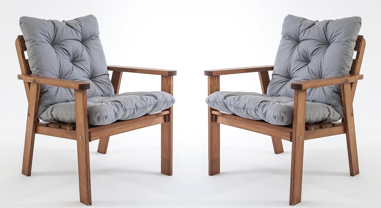 GARDENho.me 2er Set Massivholz Sessel Gartenstuhl Stuhl HANKO inkl. Kissen Nordisches Design Braun jetzt kaufen