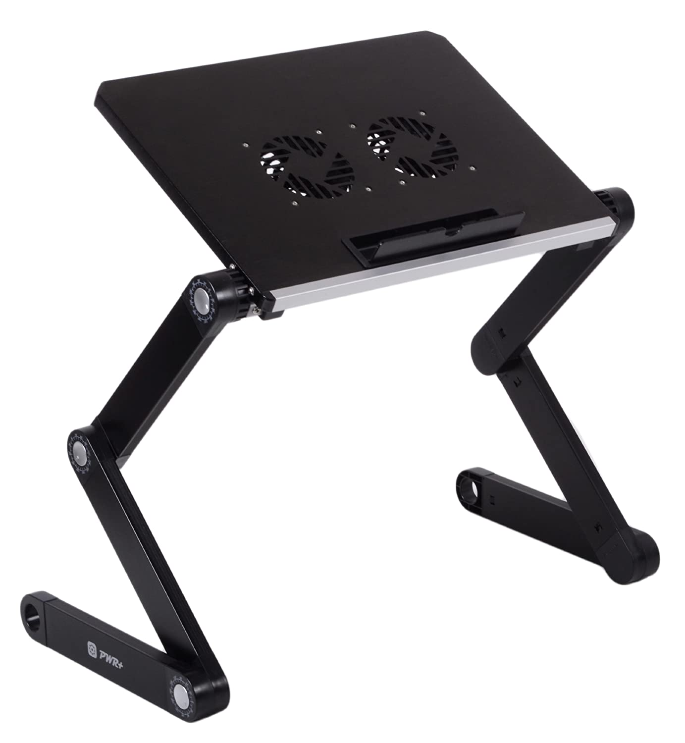 Pwr+ Portable Folding Laptop Notebook Book Table Desk Tray Stand with Cooling Pad - 2x Cooler Fans - Aluminium Alloy - Adjustable at Sears.com