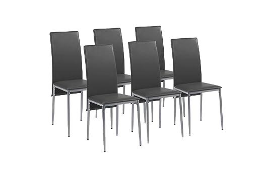 Cavadore Stuhl 6-er Set Milan / Stuhle ohne Armlehne in modernem Design / Lederimitat / Stuhlset Schwarz / 49 x 40 x 95,5 cm (T x B x H)