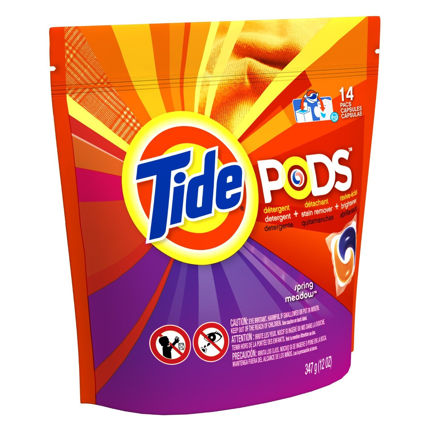 Tide PODS Laundry Detergent HE, Spring Meadow - 14 ct pkg (2 pack) despicable me 2 battle pods loose 1 inch micro figure 36 blaster jerry [battle pods]