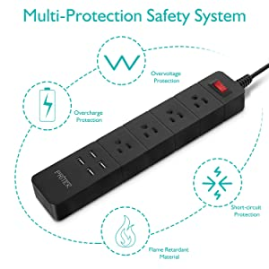 PRITEK USB Power Strip 1875W Surge Protector with 4 AC Outlets + 4 USB Ports + 6.0ft Extension Cord Packed with 4pcs International Travel Plug Adapters (US to UK/EU/AU/IT) (Black) (Color: Black)