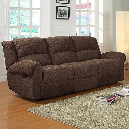 Homelegance Esther Recliner Sofa in Dark Brown Chenille