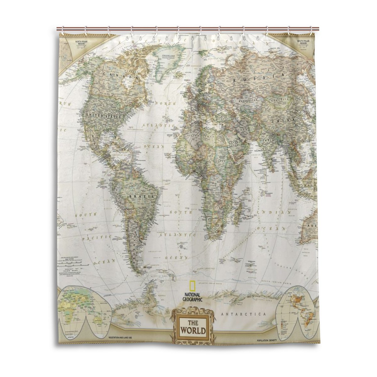Bath Shower Curtain 60x72 Inch,Fashion Vintage World Map,Waterproof Polyester Fabric Bathroom Curtain 0