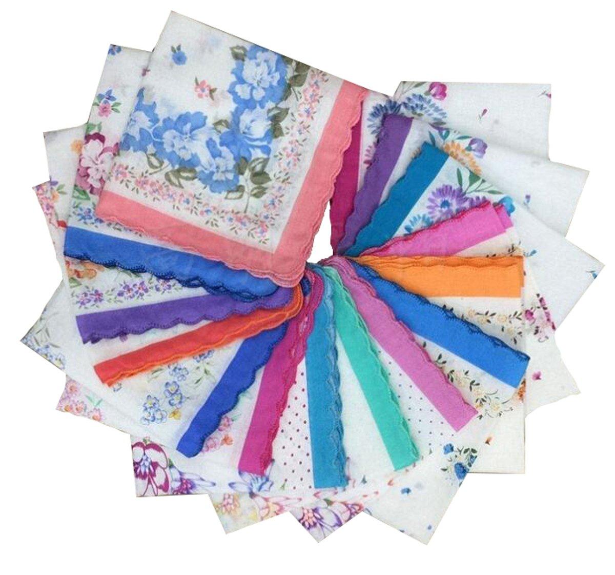 VEBE Womens/Girls Vintage Floral Wedding Party Cotton Handkerchiefs 1