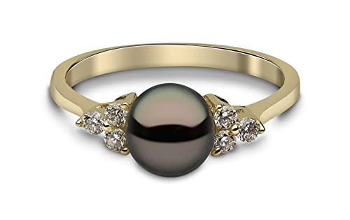 Kimura Pearls 9ct Yellow Gold Black Freshwater Pearl and Diamond Ring - Size L RN0052-201BL