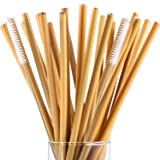 Hestya 20 Pieces 7.5 inch Reusable Bamboo Drinking Straws Alternative to Plastic Kids Straws Includes 2 Pieces Nylon Cleaning Brushes (Color: Silver, Tamaño: 0.8 x 23 cm/ 0.3 x 9 inches)