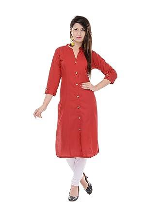 Mystique India Solid Red Cotton Women Kurti at amazon