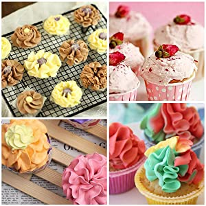 YUJUE 38 pcs ,Russian Piping Tips Set,Icing Tips Cake Decoration Tips, 7 NEW Russian Ball Tips, 6 Russian Piping Nozzles, 3 Couplers, 1 Silicone Bag,1 Brush and 20 Disposable Pastry Bags (Color: 38pcs silver, Tamaño: 38 pcs)