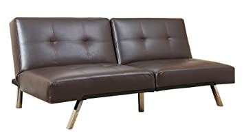 Abbyson Living Aspen Bonded Leather Convertible Sofa, Dark Brown