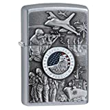 Zippo Defenders of Freedom Emblem Pocket Lighter, Street Chrome (Color: Street Chrome, Tamaño: 5 1/2 x 3 1/2 cm)