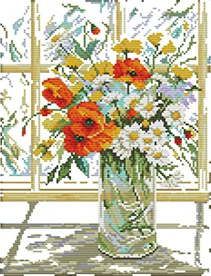 eGoodn Cross Stitch Stamped Kit Pre-Printed Pattern Flower Vase on Windowsill, 11ct Aida Fabric Size 14.2 inches by 17.7 inches for Embroidery Needlework Art Crafts Lovers, No Frame (Color: Flower Vase on Windowsill)