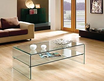 Design Couchtisch Layer aus Glas klar | 120 x 60 x 43cm | mit Einlageplatte | Wohnzimmer Glastisch aus einem Stuck gebogen | hochwertig verarbeitet