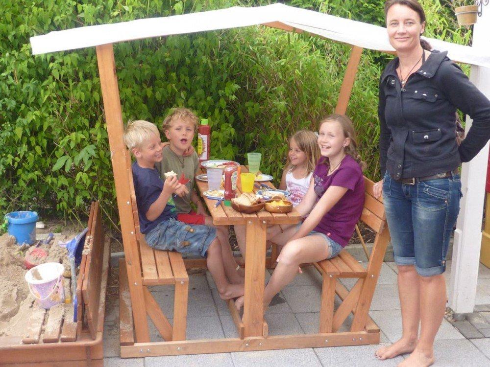 Holz-Kinderpavillon Anna mit weißem Dach Pavillon Kiefernholz lasiert bestellen