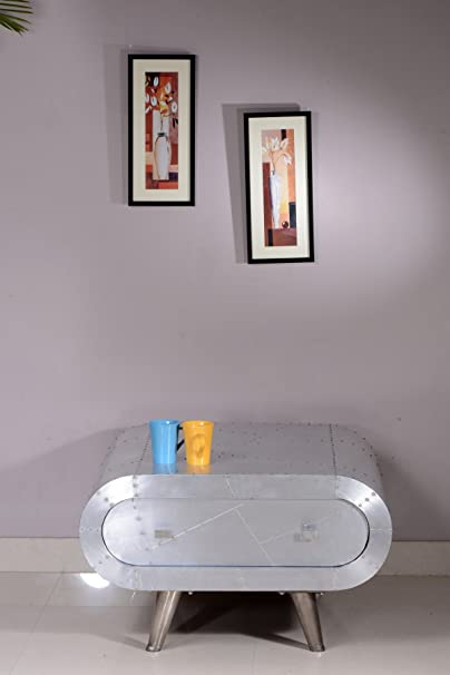 """Sit-Möbel 2080-21 mesa de centro """"centro de la ciudad"""", 80 x 40 cm, formación y aluminio, plata"""