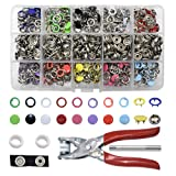 200 Set Snap Fastener Tool 10 Colors Solid &Hollow Mixed Diameter 9.5mm Metal Eyelets Shoes Clothes Crafts with Heavy-Duty Pliers