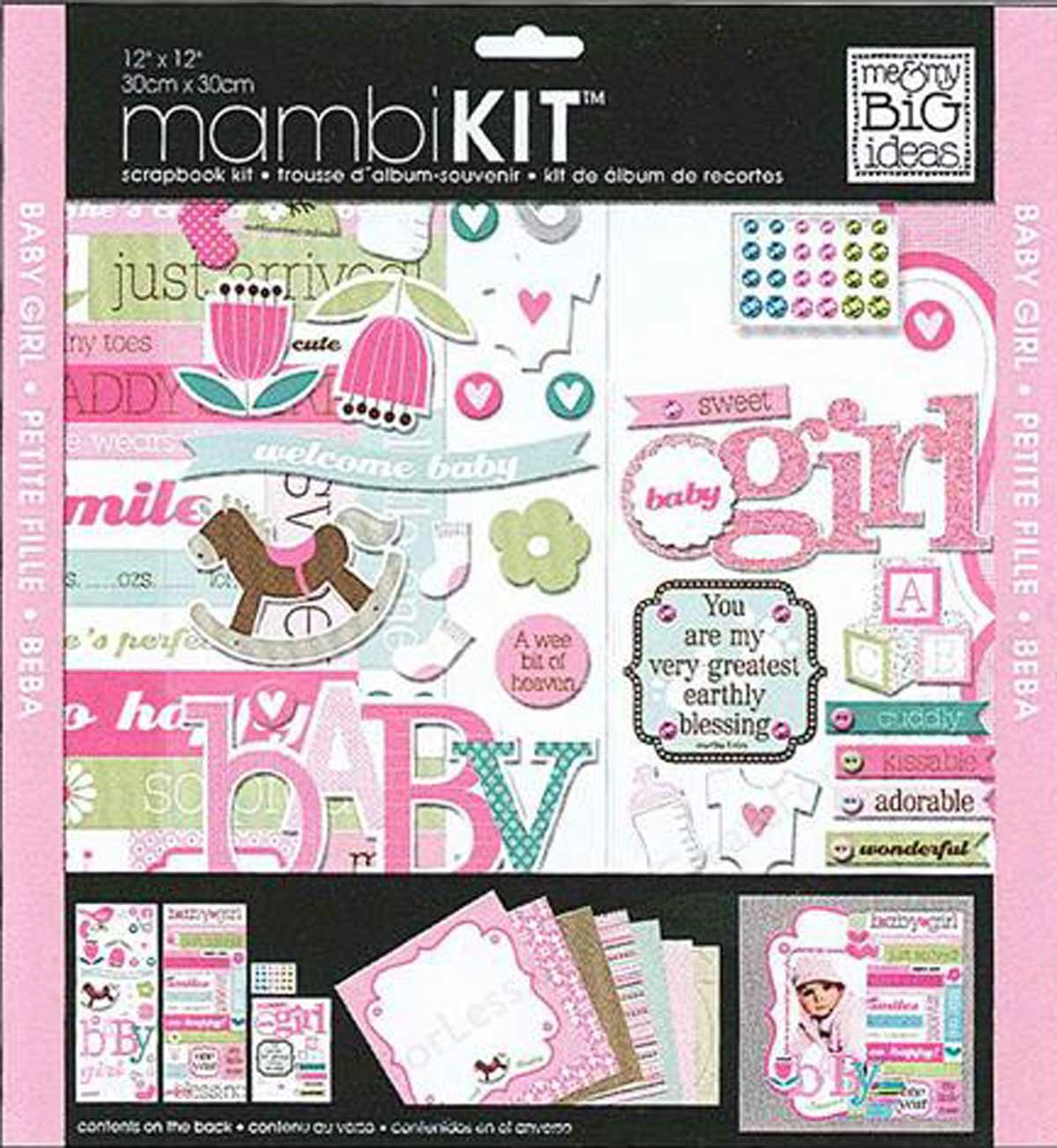 me & my BIG ideas 12-Inch by 12-Inch Scrapbook Page Kit, Sweet Girl