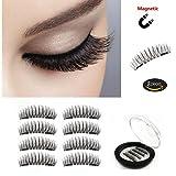 Magnetic False Eyelashes [No Glue] - 3D Handmade Reusable Fiber Lashes Extension - Ultra Soft & Natural Look (8 Pieces) (Black)