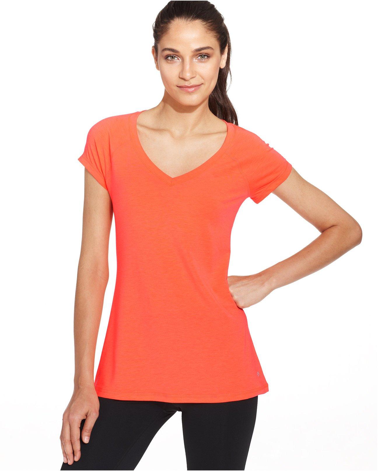 Ideology women 39 s low cut v neck tee shirt punch medium ebay for Low neck t shirts women s