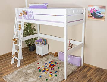 High Sleeper bed / Children's bed Niklas, solid beech wood, white painted, incl. slatted frame - 90 x 200 cm