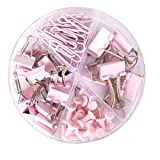 Paper Clips and Binder Clips Push Pins Set and Holder, Syitem Non-Skid Map Tacks Thumbtacks Clips Kits with Container for Office School Home Desk Supplies, 72 PCS Assorted Sizes (Pink) (Color: Pink)