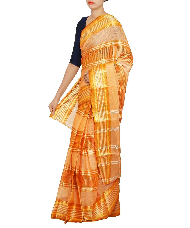 Women orange Bengal pure handloom cotton tant saree