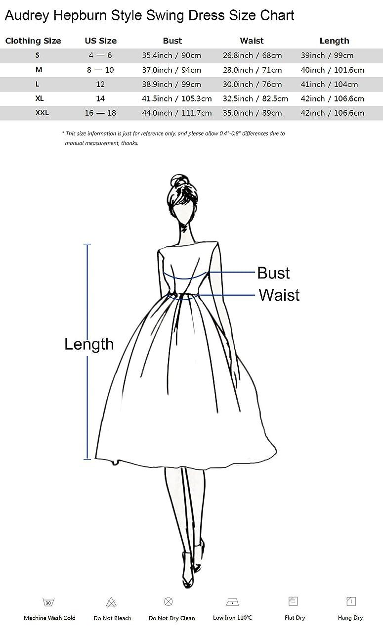 Anni Coco Women's Classy Audrey Hepburn 1950s Vintage Rockabilly Swing Dress 6