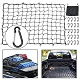 SUPAREE 5'x7' Cargo Net with 20pcs Upgrade Aluminum Carabiners Black Truck Bed Bungee Nets Stretches to 10'x14' for Truck SUV Trailer Boat RV