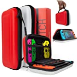 Orzly Carry Case for Nintendo Switch, RED & WHITE Hard Shell Protective Carrying Case Portable Travel Pouch Compatible With Nintendo Switch Games Console & Accessories (Color: POKE RED WHITE Carry Case for Nintendo Switch)