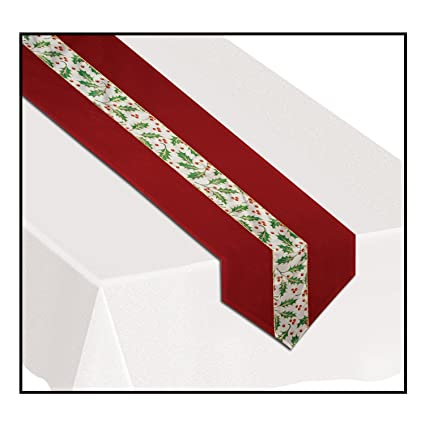 Christmas Holly Fabric Table Runner by Beistle